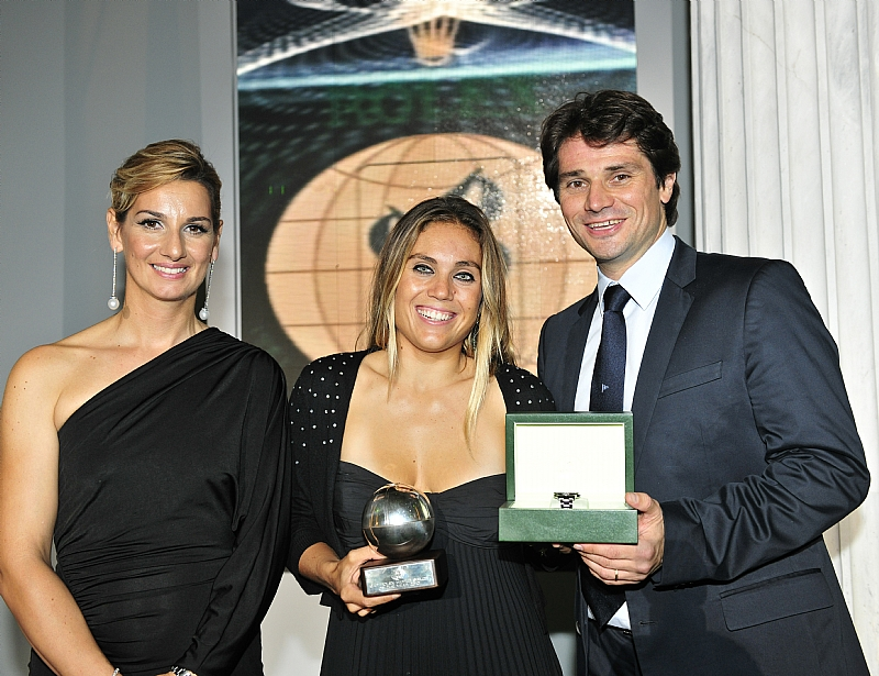 Blanca Manchon with Arnaud Boetsch from Rolex and Sofia Bekatorou