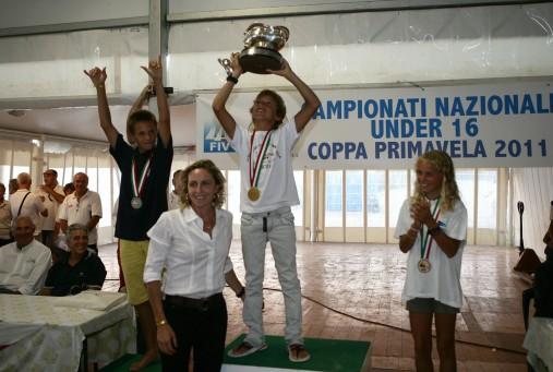 La premiazione della classe Techno 293 del Trofeo Coppa del Presidente - Foto: A.Carloni/FIV